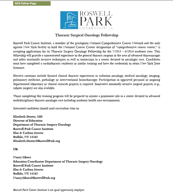 Roswell Park Cancer Institute Thoracic Surgical Oncology Fellowship